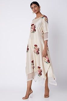 Ivory Floral Printed Tunic by Archana Shah