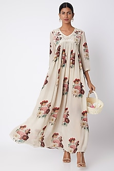 Nude Embroidered & Printed Maxi Dress by Archana Shah