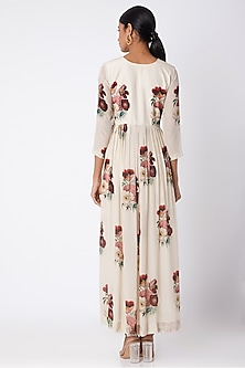 Nude Embroidered & Printed Maxi Dress With Centre Slit by Archana Shah