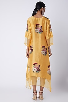 Yellow Embellished & Printed Tunic by Archana Shah