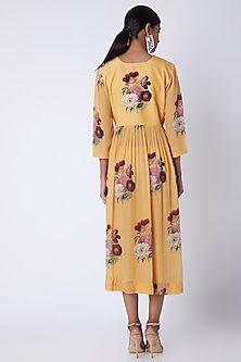 Yellow Embellished & Floral Printed Tunic by Archana Shah