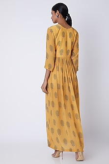 Yellow Embroidered & Printed Maxi Dress by Archana Shah