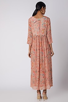 Peach Embellished & Printed Tunic by Archana Shah