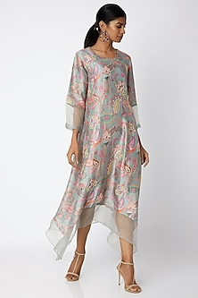 Grey Embellished & Printed Tunic by Archana Shah