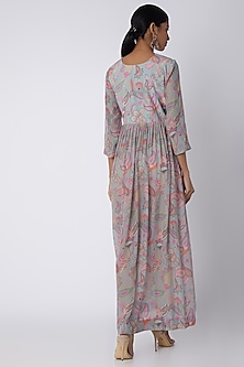Grey Embellished & Printed Maxi Dress by Archana Shah