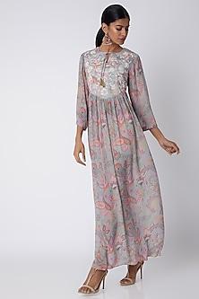 Grey Embellished & Paisley Print Maxi Dress by Archana Shah