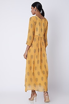 Yellow Embellished & Floral Print Tunic by Archana Shah