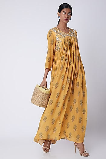 Yellow Embellished & Printed Maxi Dress by Archana Shah
