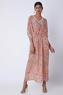 Peach Embroidered & Printed Kaftan Dress by Archana Shah