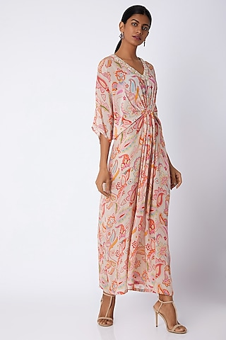 White Embellished & Printed Kaftan Dress by Archana Shah