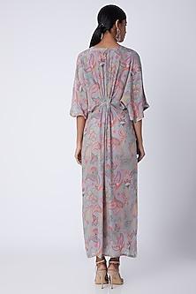 Grey Embellished & Printed Kaftan Dress by Archana Shah