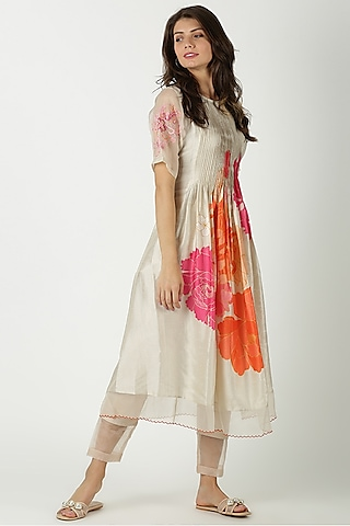 Ivory Printed & Embroidered Tunic by Archana Shah