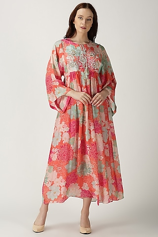 Orange Printed & Embroidered Maxi Dress by Archana Shah