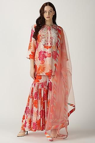 White Printed & Embroidered Kurta Set by Archana Shah