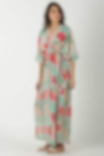 Sky Blue Printed & Embroidered Kaftan Dress by Archana Shah