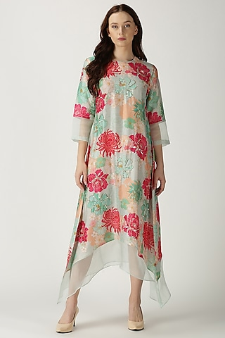 Sky Blue Printed & Embroidered Tunic by Archana Shah
