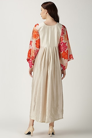 White Printed & Embroidered Maxi Dress by Archana Shah
