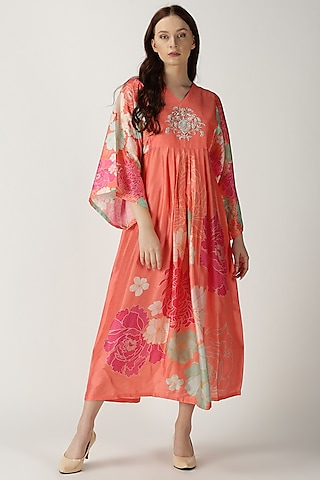 Orange Printed Embroidered Maxi Dress by Archana Shah