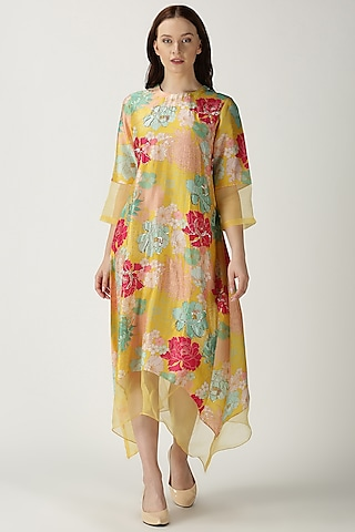 Yellow Printed Embroidered Kurta by Archana Shah