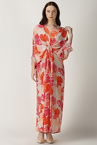 White Printed & Embroidered Kaftan by Archana Shah