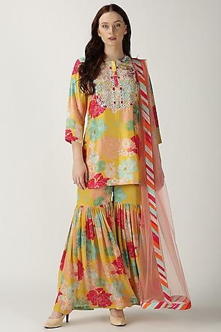 Yellow Printed & Embroidered Kurta Set by Archana Shah