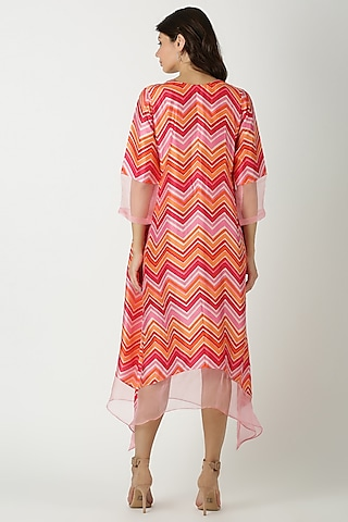 Orange Printed & Embroidered Tunic by Archana Shah