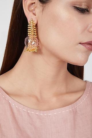 Gold Finish Fern Of Dessert Pink Earrings by Aadikara