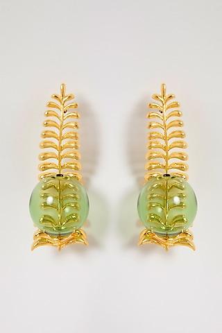 Gold Finish Fern Of Dessert Green Earrings by Aadikara
