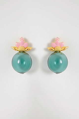 White Finish Lotus Bud Earrings by Aadikara