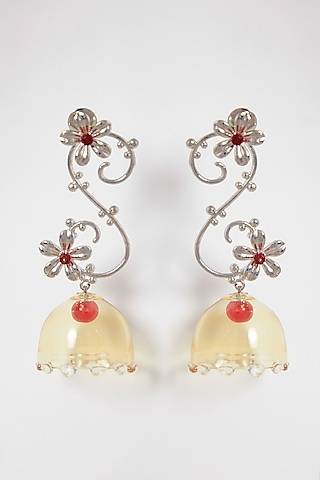 White Finish Rangoon Yellow Earrings by Aadikara