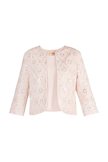 Pink Embellished Jacket by Aarti Mahtani