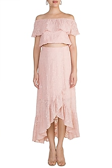 Pink Embellished Off Shoulder Top With Skirt by Aarti Mahtani