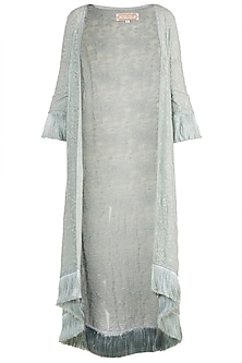 Grey Embellished Jacket by Aarti Mahtani