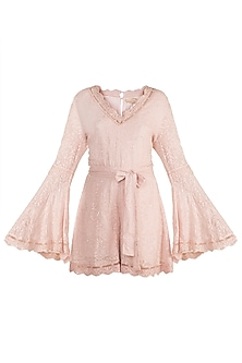 Pink Embellished Romper With Belt by Aarti Mahtani