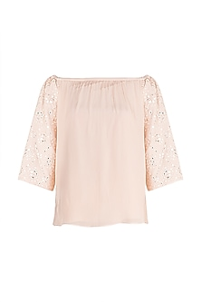 Pink Embellished Off Shoulder Top by Aarti Mahtani
