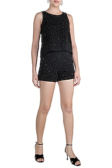 Black Embellished Swing Top With Shorts by Aarti Mahtani