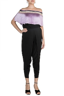 Black Embroidered Overlap Pants by Aarti Mahtani