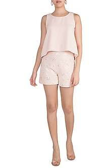 Pink Swing Top With Embellished Shorts by Aarti Mahtani