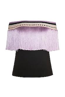 Black & Purple Fringe Embellished Top by Aarti Mahtani