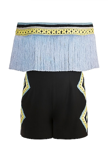 Black & Blue Fringe Embroidered Romper by Aarti Mahtani