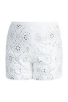 Ivory Embellished Shorts by Aarti Mahtani