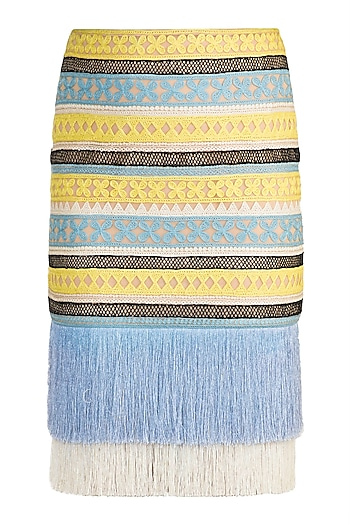 Blue & Yellow Fringe Embroidered Skirt by Aarti Mahtani