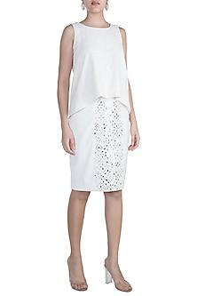 Ivory Embellished Skirt by Aarti Mahtani