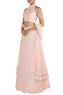 Baby Pink Embroidered & Tassled Lehenga Set by Aarti Mahtani