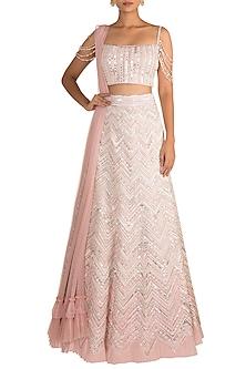 Ivory & Pink Embellished Lehenga Set by Aarti Mahtani