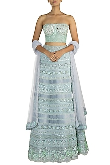 Blue Embellished Fur Lehenga Set by Aarti Mahtani