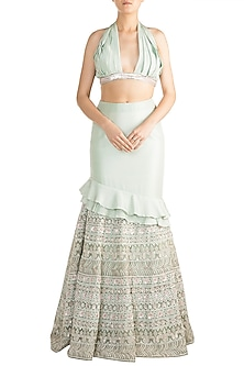 Mint Green Chikankari Embellished Lehenga Set by Aarti Mahtani