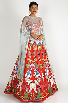 Red Embroidered Lehenga Set by Aisha Rao