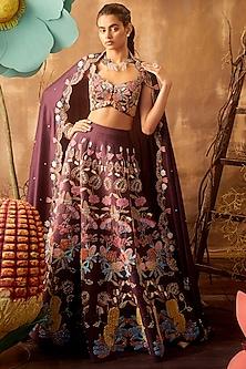 Plum Embellished Kalidar Lehenga Set by Aisha Rao