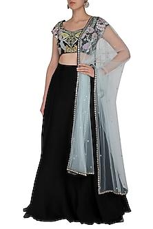 Charcoal Black Embroidered Lehenga Set by Aisha Rao